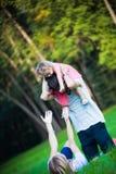 lyckliga semestrar för familj Fotografering för Bildbyråer