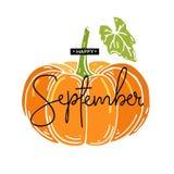 Lyckliga September med pumpor också vektor för coreldrawillustration arkivbilder