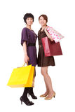 lyckliga shoppingkvinnor Royaltyfria Bilder