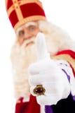 Lyckliga Sinterklaas på vit bakgrund Royaltyfri Foto