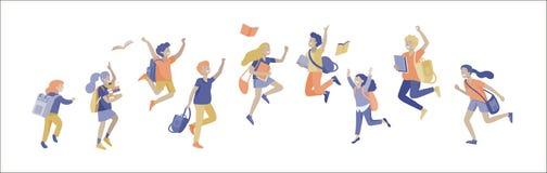Lyckliga skolbarn som hoppar och skrattar som joyfully isoleras p? vit bakgrund Begrepp av lycka, gl?dje och gyckel royaltyfri illustrationer