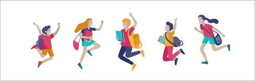 Lyckliga skolbarn som hoppar och skrattar som joyfully isoleras p? vit bakgrund Begrepp av lycka, gl?dje och gyckel stock illustrationer