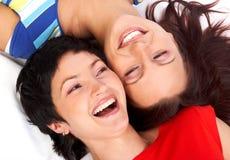 lyckliga skratta kvinnor Royaltyfria Bilder