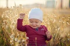 Lyckliga små behandla som ett barn pojkesammanträde och att le på en äng på naturen i solig dag för sommar royaltyfri foto
