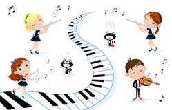 Lyckliga små ungar som spelar olika musikinstrument - fiol, flöjt royaltyfri illustrationer