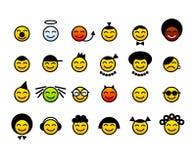 lyckliga smileys för framsida vektor illustrationer