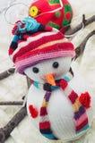 Lyckliga snowmans för jul Fotografering för Bildbyråer