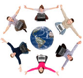 Lyckliga sociala nätverksanvändare runt om jordklotet Arkivfoto