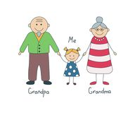 lyckliga sondottermorföräldrar Teckning för barn` s vektor royaltyfri illustrationer
