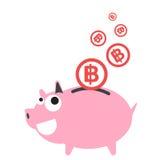 Lyckliga spargrispengar, falla för mynt för valutabahtsymbol Arkivfoto