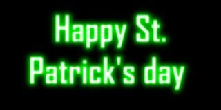 Lyckliga St Patrick & x27; neon för s-daggräsplan Arkivfoto