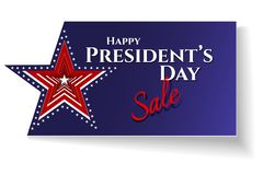 Lyckliga stjärnor för amerikanska flaggan för kort för presidentdagSale text på för temaUSA för blå bakgrund patriotiska amerikan royaltyfri illustrationer