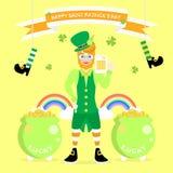 lyckliga Sts Patrick dag man med skägget som bär den gröna dräkten och hatt och bladväxt av släktet Trifolium för treklöver fyra royaltyfri illustrationer
