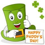 Lyckliga Sts Patrick dag med den gröna hatten Fotografering för Bildbyråer
