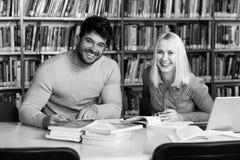 Lyckliga studenter som arbetar med bärbara datorn i arkiv Royaltyfria Bilder