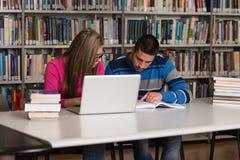 Lyckliga studenter som arbetar med bärbara datorn i arkiv Royaltyfri Fotografi