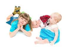 lyckliga systrar tre Arkivfoton