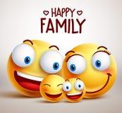 Lyckliga tecken för vektor för familjsmileyframsida med fadern, modern och barn royaltyfri illustrationer