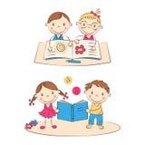 Lyckliga tecknad filmbarn stock illustrationer