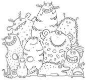 Lyckliga tecknad filmmonster stock illustrationer