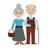 Lyckliga tecknad filmmorföräldrar Arkivbild