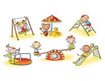 Lyckliga tecknad filmungar på lekplats, tecknad filmdiagram, illustration stock illustrationer