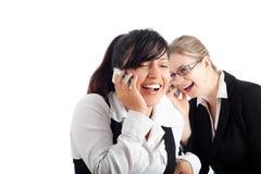 lyckliga telefonkvinnor för affär Royaltyfri Bild