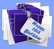 Lyckliga 16th lyckönskan för skärmar för födelsedaggåva åldras sexton Arkivbild