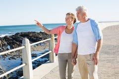 Lyckliga tillfälliga par som går vid kusten Royaltyfri Foto