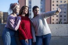 Lyckliga tonåriga flickor som tar selfie parkerar in, med mobiltelefonen utomhus arkivfoto