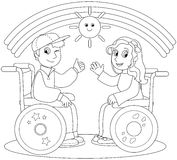 Lyckliga tonåringar på rullstol Fotografering för Bildbyråer