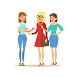 Lyckliga tre flickabästa vän som talar, del av kamratskapillustrationserie Fotografering för Bildbyråer