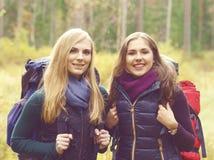 Lyckliga två och härliga flickor som går i skog och träsk läger arkivbild