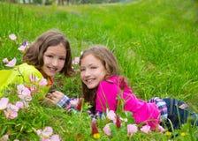 Lyckliga tvilling- systerflickor som spelar på våren, blommar ängen royaltyfri fotografi