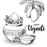 Lyckliga Ugadi Mallhälsningkort för ferie exponeringsbärbar datorlampa skissar stil vektor illustrationer