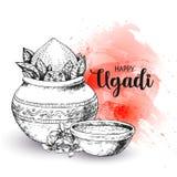 Lyckliga Ugadi Mallhälsningkort för ferie exponeringsbärbar datorlampa skissar stil Vattenfärgbakgrund, bakgrund, tapet royaltyfri illustrationer