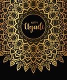 Lyckliga Ugadi Mallhälsningkort för ferie Mandalabakgrund, bakgrund, tapet stock illustrationer