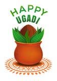 Lyckliga Ugadi Yugadi hinduisk ferie stock illustrationer