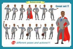 Lyckliga unga män för svart afrikan i affärsdräkt Folktecken stock illustrationer