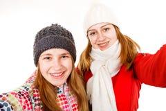Lyckliga unga systrar Arkivfoton