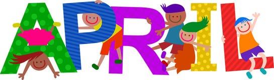Lyckliga ungar April Text stock illustrationer