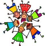 lyckliga ungar för grupp Arkivbilder