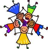 lyckliga ungar för grupp Royaltyfria Bilder