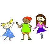 Lyckliga ungar för Hand-drawn tecknad film Arkivfoton