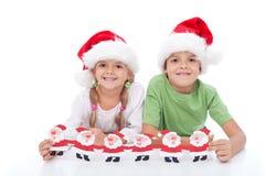 lyckliga ungar för jul Arkivfoton