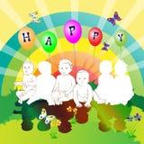 lyckliga ungar för vänner Royaltyfria Bilder
