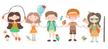 Lyckliga ungar, ferie och campa spela med lägerbeståndsdelar Illustration för vektor för Jouful barntecknad film, uppsättning av stock illustrationer