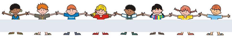 Lyckliga ungar, grupp av barn, baner, vektorsymbol stock illustrationer