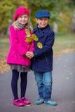 Lyckliga ungar i Autumn Park Fotografering för Bildbyråer
