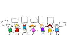 Lyckliga ungar med baner Royaltyfri Foto